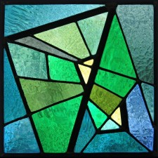 "Autonomous stained glass: ""Fibonacci Square"" (my first effort), 12"" x 12"", artist's collection."