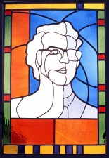 Autonomous stained glass: Self Portrait, 1.8' w. by 2.5' h., artist's collection.