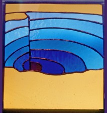 "Autonomous stained glass: ""Morning Glory Pool"", 12"" by 12"", location unknown"