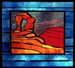 Autonomous stained glass: Archetype I, 2.0' w. by 1.8' w., location unknown.