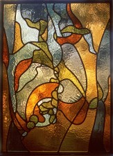 "Autonomous stained glass: ""Germination"", 1.8' h. by 2.5' w., artist's collection."
