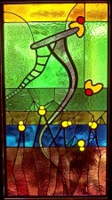 "Autonomous stained glass: ""Dream Climb"", 1.4' w. by 2.6' h., location unknown."