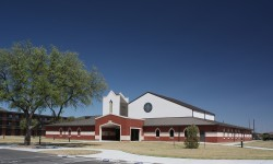 Exterior view: Chapel at Goodfellow Air Force Base with Stained Glass Windows