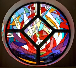 "Altar Window, ""Enlightenment"" stained glass made from imported, mouthblown glass and prisms."