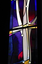 "Middle ""Meditation"" window with cross: Mouthblown German glass, opal lenses."