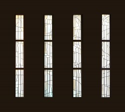 Composite photo of Nave Windows: French and German mouthblown glass.