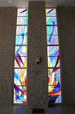 """Tower Windows"": made with German mouthblown glass, prisms, lead, solder"