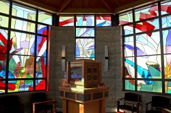 St. Michael Chapel, Ankeny, Iowa: Architectural Stained Glass, Inc., Fort Davis, Texas