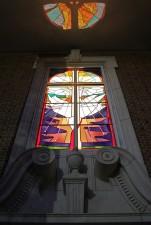 First Presbyterian Church, Pine Bluff, Arkansas: Narthex Window at night.