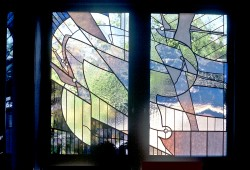 View from Master Bedroom Suite: 2 of 7 stained glass windows.