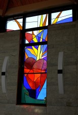 """Immaculate Heart of Mary"" Northwest Window. Made of European mouthblown glass."
