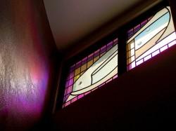 """Hidden"" Window with German mouthblown glass, dichroic border, Austrian lead-crystal prisms."