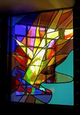 """St. Michael's Sword"": Northwest Window. Made of German mouthblown glass and prisms"