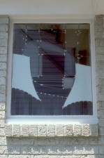 Exterior view of Bathroom Window showing reflective German opal and opak glasses