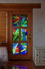"""Hummingbird Garden"" Door, Jeff Smith, Architectural Stained Glass, Inc., Texas"
