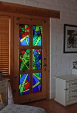 """Hummingbird Garden"" Door, mouthblown glass, Architectural Stained Glass, Inc., Texas"