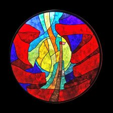 """Soaring"", Frio River Ranch: Jeff G. Smith, Architectural Stained Glass, Inc., Texas"