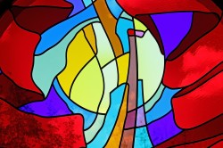 "Detail: ""Soaring"" stained glass window made of mouthblown German and Polish glass"