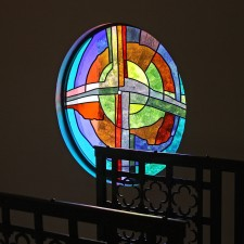 """Oasis Cross"" in stairwell. Made from imported European glasses and prism."