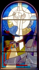 """O Holy Night,"" Nativity stained glass window. German and French mouthblown glass."