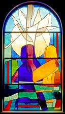"""John Baptizes Jesus/The Baptism of Christ"" stained glass window of imported glass."