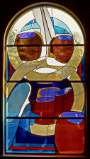 """Wedding at Cana"" (note blue ""water"" in casks); Dichroic glass shifts from water to wine."