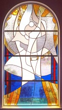 """The Ascension of Christ"" stained glass window made with European mouthblown glass."