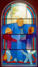 """The Prodigal Son"" stained glass window in Reconciliation Chapel."