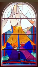 """Jesus Calling the Fishermen"" stained glass window: French and German mouthblown glass."