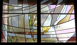 Columbarium Garden Window: stained glass made of imported mouthblown German glass. (detail)