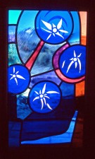 Back-lit etching, mouthblown glass, Architectural Stained Glass, Inc., Texas