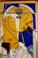 """Agony in the Garden"" glass cutting, Architectural Stained Glass, Inc. TX"