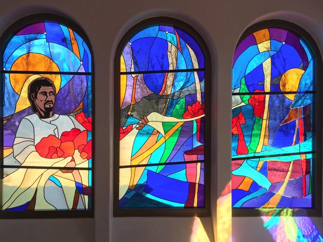 Juan Diego & Winter Roses, North Blessed Mother Chapel Windows.