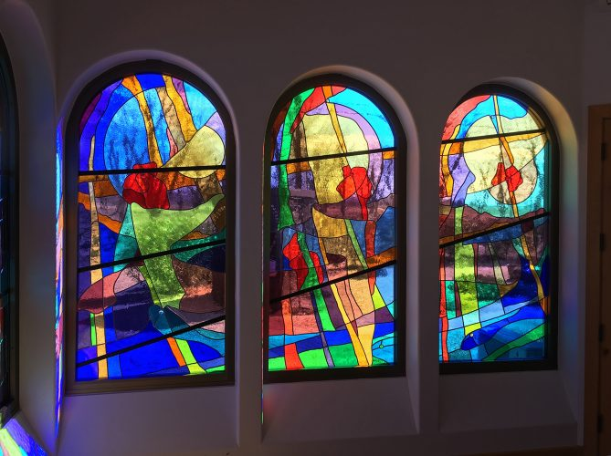 East Blessed Mother Chapel Windows.