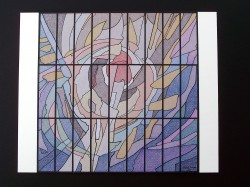 """Proposed Preliminary Design Rendering: """"Galaxy I"""" mirror-lit stained glass"""