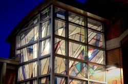 "Night view: ""Fire and Water"": Architectural Stained Glass, Inc., Fort Davis, Texas"