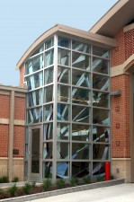 "Exterior view: ""Fire and Water"": mouthblown German glass, dichroic glass, lenses."