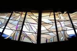"""Creation"" Clerestory: unobscured view from Altar table. German mouthblown glass with prisms."