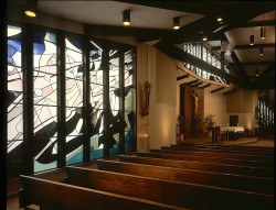 "View from left Nave Window past Altar to right Nave Window (""Creation"" above.)"