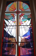 Narthex stained glass: Jack P. Smith Memorial Window: Imported mouthblown glass