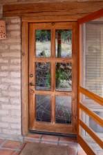 """Hummingbird Garden"" Door - exterior view, Architectural Stained Glass, Inc., Texas"