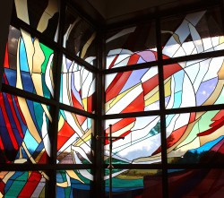 """Creation"": a stained glass window: Architectural Stained Glass, Inc., Fort Davis, Texas"