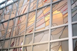 Detail with backlit white glass and dichroic accents; Architectural Stained Glass, Inc.