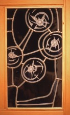 Front-lit etching, mouthblown glass, Architectural Stained Glass, Inc., Texas