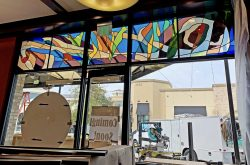 Richard Walker's Pancake House Architectural stained glass Inc.
